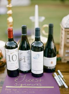 have guests sign wine bottles for each anniversary instead of a guest book | Melissa Schollert #wedding