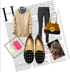 denim + sweater + black skinnies