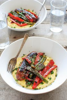 Creamy Polenta with Chicken Sausages and Peppers / Bev Cooks
