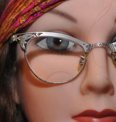 vintage 50s silver aluminum CAT EYE glasses