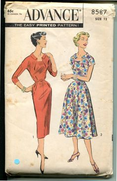 Vintage 50's Cut Away Neckline Draped Bodice Slim by retromonkeys, $18.50