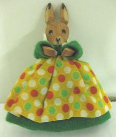 Vintage German Carved Wooden Bunny Rabbit Easter Puppet Figurine Decoration