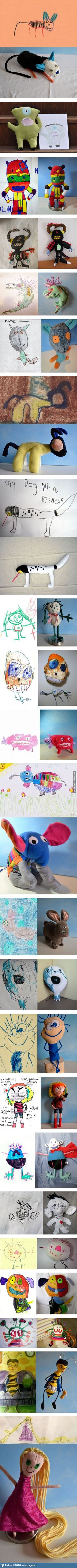 Making kids' drawings into dolls.