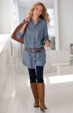 denim tunic and legg