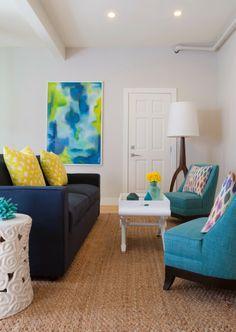 color medley, navy sofa