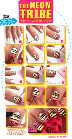 Adventures in Acetone and DARE Colors: Neon Tribal Nails