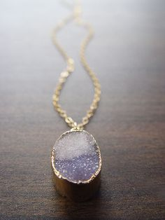 grey opal drusy necklace. gorgeous.