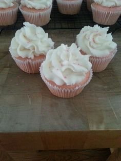 Pink moscato cupcakes with buttercream frosting