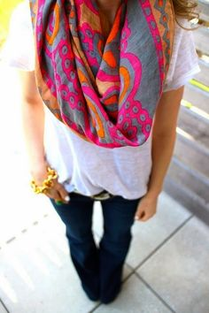Oversized colorful scarf / white tee / flares