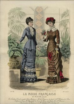 I love the bodice detail on the brown dress. La Mode Francaise, 1881