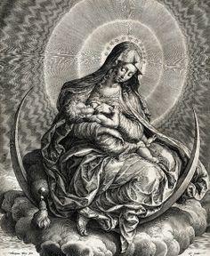 speciesbarocus:  Hieronymus Wierix - The Virgin and Child on a crescent (c. 1600).