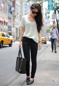 Shop this look on Kaleidoscope (shirt, jeans, loafers, purse, sunglasses)  http://kalei.do/WIxhhhKSFIv4VBrA