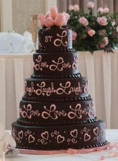 My Simple Pink and Chocolate Wedding Cake