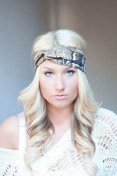 Camo headband, stretch cotton twist headband camouflage on Wanelo..... Her hair is absolutely stunning!