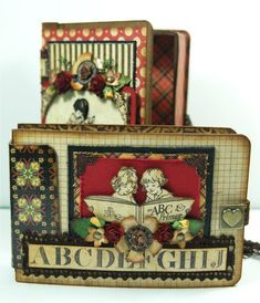 Incredible altered mini by Andrew Roberts using An ABC Primer! #graphic45 #minialbums