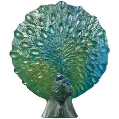 Daum and Guy Petitfils, Pate de Verre Peacock | From a unique collection of antique and modern sculptures at https://www.1stdibs.com/furniture/more-furniture-collectibles/sculptures/