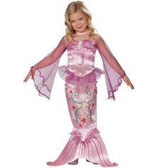 Schattige roze zeemeerminnen jurk met een mooie zeemeerminnenstaart. De mouwen zijn gemaakt van organza.