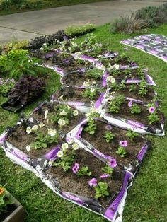 start a garden in garden soil bags. It really turns out beautiful in the end. You don't see the bags after the mulch goes on top. Very easy and few weeds.