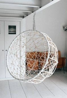 Hemisphere chair to hang inside or out.