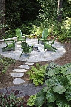 Flagstone path to firepit