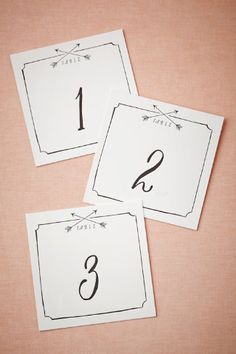 Arrow Table Numbers (5) from BHLDN