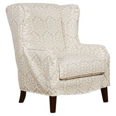 Beautiful wingback arm chair with slipcover design.