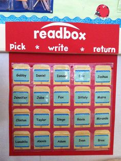 Read box!!! My classroom book check out!