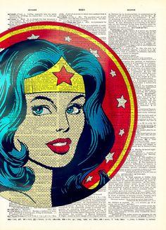 Classic Comic Wonder Woman Original Art Print on by AvantPrint,