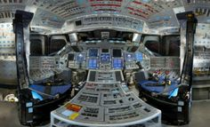 Panorama Of Space Shuttle Discovery's Cockpit.