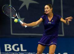 Monica Niculescu stiffs her face to make a forehand #WTA Luxembourg Open 2014  http://www.womenstennisblog.com/2014/10/15/tough-day-top-seeds-luxembourg-highlights/