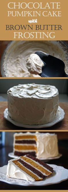 Chocolate pumpkin cake with spiced brown butter frosting