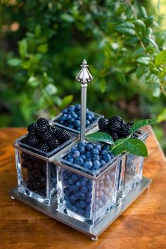 Blackberry and Blueberry Centerpiece – shared on Wedding Chicks