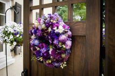 purple wreath with dahlias, Françoise Weeks