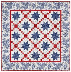 Red , white and blue star block quilt.  I really like how the quilter used different values of blues for the star block.  Peace, Robert from nancysfabrics.com