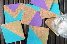 How to Create Chic and Colorful Cork Coasters via Brit + Co.