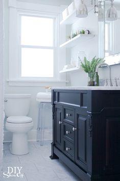 white bathroom w/ black vanity