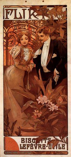 Flirt Lefevre Utile by Alphonse Mucha
