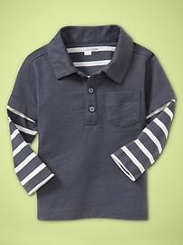 long sleeve polo - little boy clothes