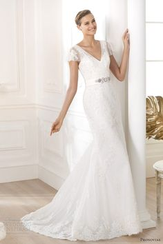 pronovias 2014 costura lianela flutter sleeve wedding dress pronovia, wedding dressses, idea, lace wedding dresses, mermaid wedding dresses, sleev, weddings, costura 2014, dress style
