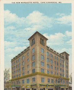 """Circe 1929, this postcard showcases the """"new"""" Marquette Hotel at 338 Broadway.  The hotel had 115 rooms and was designed in the Spanish Colonial Revival style.  Radio stations were located in the towers during WWII.  The hotel has been refurbished after being condemned, and is currently office space.  The New Marquette Hotel, Cape Girardeau, Mo. :: Postcard Collection"""