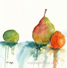 Watercolor Fruit Still Life 8 x 8 by GrowCreative on Etsy