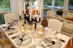 table settings, glasses, mercury glass, candles, dinner parties, halloween tablescap, eleg halloween, tabl set, themed parties