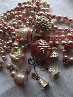 Vintage Christmas ornaments in pink.