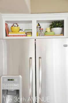 What a fabulous idea for that little cabinet above the fridge that's too high to really conveniently store any thing!  Love it! Repinned by Suzanna Kaye of A Space That Works Organizing www.aspacethatworks.com