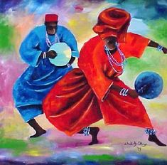 Hermosa pintura sobre la danza africana.