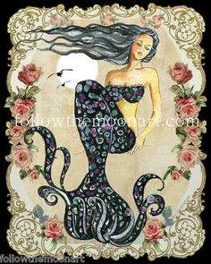 Vintage Black Haired Mermaid Sleeping  - Roses Antique Border -by Followthemoonart