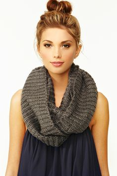 Metallic Infinity Scarf in Gray