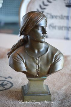Antique Joan of Arc Bust Bronzed Metal Signed by edithandevelyn