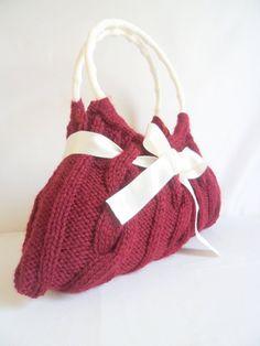 Red Handmade Bag Every Day Knitted by modelknitting on Etsy, $58.00 #valentine #handmade #handknit #purse #onfireteam