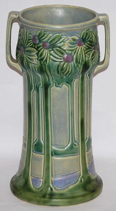 Roseville Pottery -  Vista - Handled Vase 129-12 | from Just Art Pottery